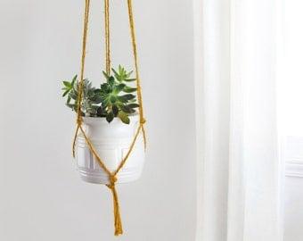 Mustard yellow macrame plant hanger | DIY hanging planters | Modern and minimalistpot holder | Indoor wall planter for herbs, succulent