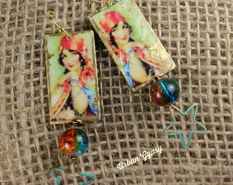 E 166 Bohemian Gypsy inspired Urban Gypsy Dangle Charm Handcrafted Earring