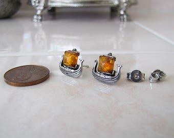Amber Boat Sterling Silver Earrings, Intriguing Organic Gem