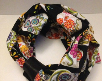 handmade Black Day of the Dead infinity Scarf with Leather cuff great gift for special lady , valentine's gift, gifts women, gifts for women