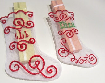 Christmas lace transparent Stockings - In The Hoop Machine Embroidery Applique design all done In-The-Hoop, for hoops 5x7 and 6x10