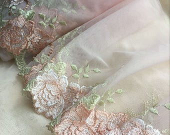 2 Yards Lace Trim Pink Rose Flowers Embroidered Tulle Lace 7 Inches Wide High Quality