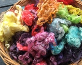 "2 oz Hand Dyed Kid Mohair Locks in ""Taste the Rainbow,"" Multicolor, ROYGBIV, Spinning, Blending Locks, Photo Prop, Doll Hair, Curly Locks"