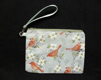Red Bird Summer Wristlet purse bag