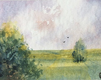 ACEO Original watercolor painting - Trees in field