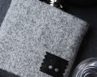 Bespoke Tweed hipflask, groom gift,best man, father of bride,personalised initials, wedding date