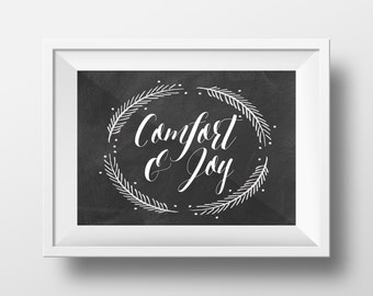 Comfort and Joy Chalkboard Digital Print