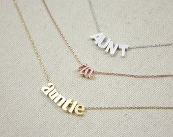 Auntie Necklace | Aunt | Tia | Auntie Gift | Gift for Her | Sister | New Baby | Baby Shower | Pregnancy Reveal | Mothers Day Gift