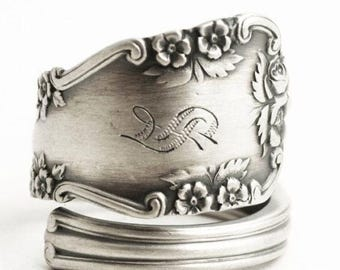Wild Rose Ring, Sterling Silver Spoon Ring, Floral Victorian Ring, Engraved S, Spiral Ring, International Rosalind, Custom Ring Size (6528)