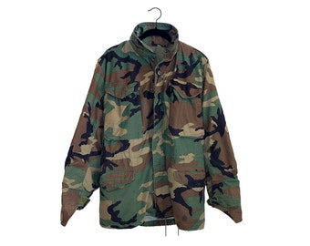 Vintage Army Issue Camo Field Coat Cold Weather, Made in USA - Extra Small