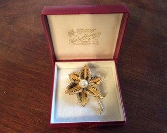 Vintage English flower cocktail fashion brooch pin in box circa 1960's / English Shop
