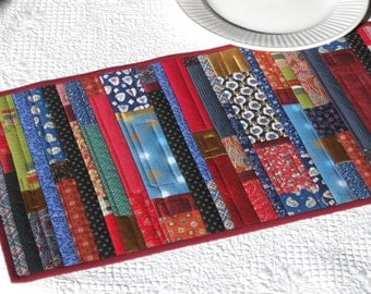 Red and gold crazy patch table runner, quilted gypsy table runner