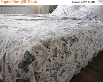 clearance sale Butterfly print Twin XL Queen King duvet cover - Blue brown shabby chic mediterranean bedding - animal lover college dorm bed