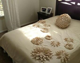 Super King duvet cover Mandala Inspired Lotus Dahlia bloom Flower Applique Bohemian country bedding bedspread -queen cream Linen Nurdanceyiz