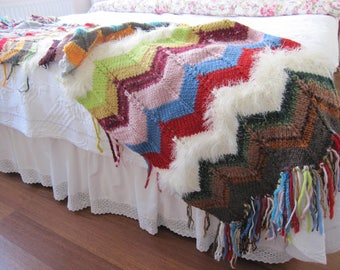boho rainbow knitted throw blanket Turkish -twin xl Bed scarf -Shabby chic bedding faux fur sofa throw- decorative bed throws - bed runner