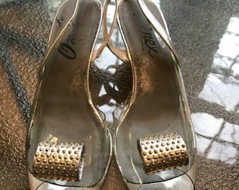 Vintage 70's sling back open toe vinyl beaded look 6.5