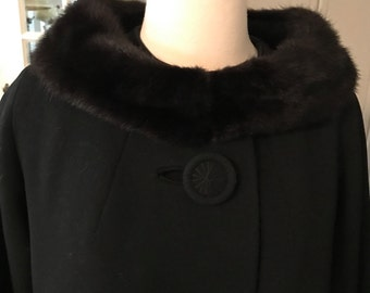 Vintage 50s Heavy Wool and Mink Collar Swing Coat Medium