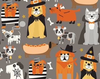 Boo CrewThe Howling Grey Pets 101.133.01.1 by Maude Asbury for Blend Fabrics