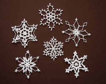 snowflake ornament//6 large white//opal glitter glue