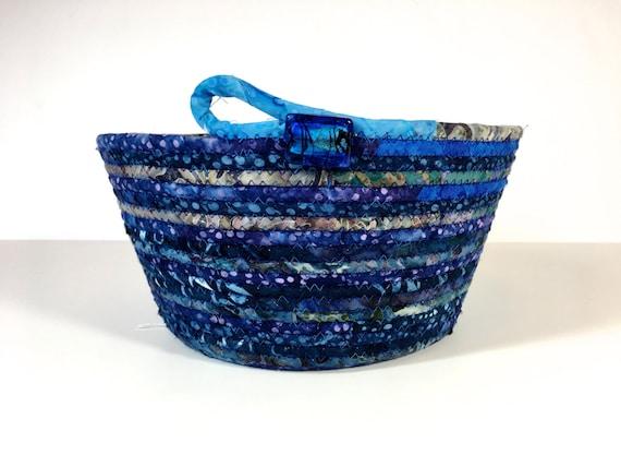 Handmade Rope Basket : Handmade clothesline basket coiled rope modern batik fabric