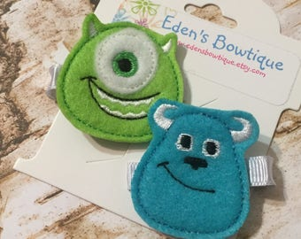 Monsters Inc Sully And Mike Headbands or Clip Set, Monsters Inc Headband Bow, Sully Monster Headband Bow, Mike Wazowski Headband Bow