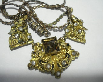 Art Deco Necklace Amber and Clear Glass Rhinestones  1920's 1930's