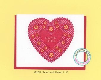 DAMN GIRL - Funny Valentine Card - Card for Her - I Love You Card - Funny Card - Card for Girlfriend - Valentine Card - Item No. V046