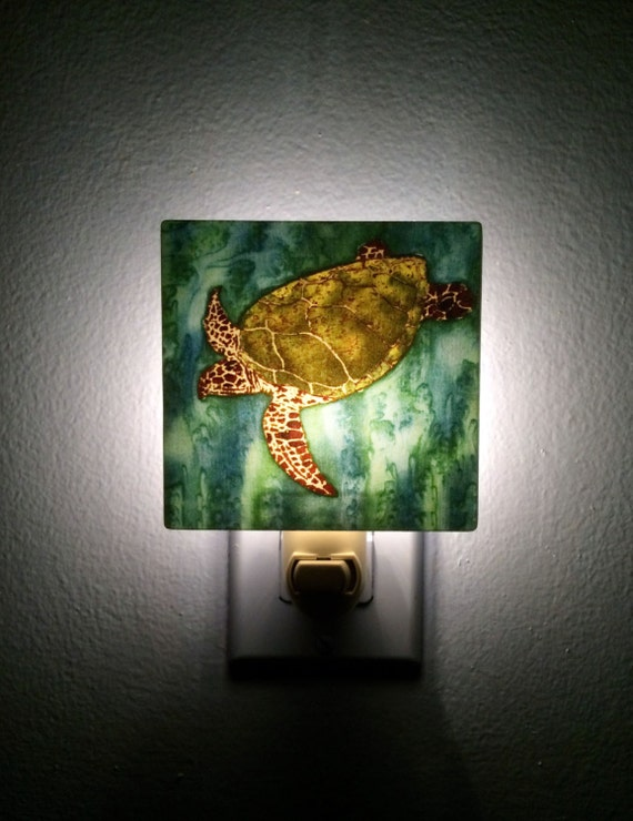 Unusual Plug In Wall Lights : Green Sea Turtle. Plug in Night Light. Unique wall light.