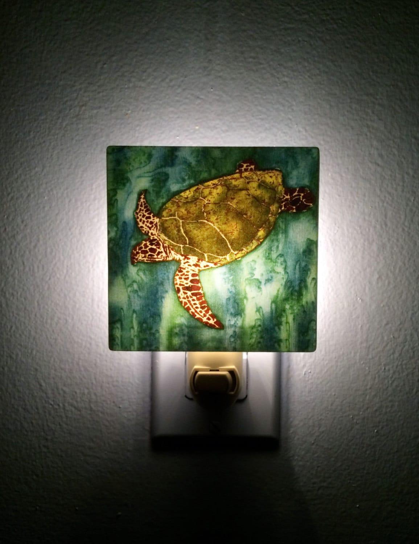 Green sea turtle plug in night light unique wall light - Turtle nite light ...