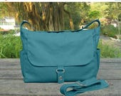 Fathers Day Sale 20% off Teal green messenger bag, cotton canvas travel bag, diaper bag, school bag for girls, boys school bag