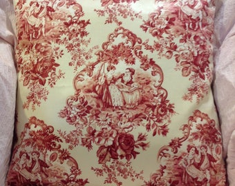 Red Toile PILLOW COVER romantic print Chintz-polished cotton SWEET
