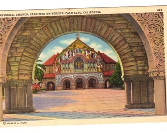 STANFORD UNIVERSITY, Memorial Church, Palo Alto California Vintage 1939 Used Postcard