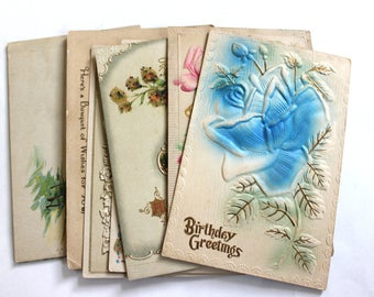 7 Early 1900s Embossed or Embellished Birthday Postcard Assortment  - Antique Used Postcards