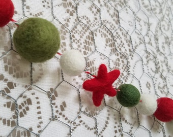 Christmas Banner - Felt Ball Garland - Red and Green Christmas Banner - Mantel Decor - Tree Garland - Merry Christmas - Gifts under 20