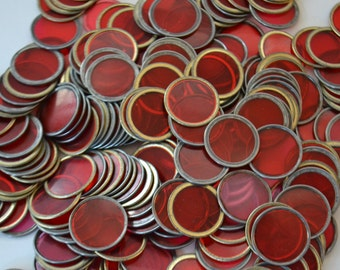 Vintage Plastic Red Circles Craft Dots