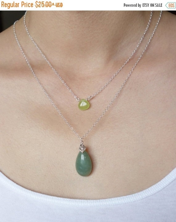 SALE - Gift Necklace Green Jade Teardrop Layering Necklace Set Stone Sterling Silver Hand Wrapped Candy Jade Light Green Dark Green Assorted