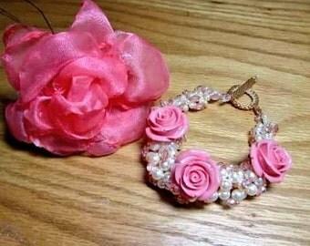 Swarovski pearl spiral rope bracelet