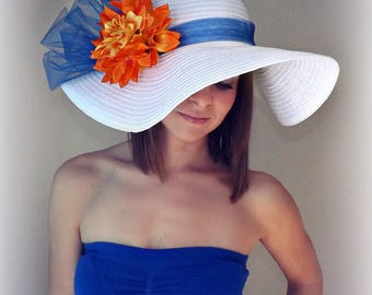 Florida Beauty - White Floppy Hat with Royal Blue Band, bow and Orange DahliaFlowers Kentucky Derby Race Church Wedding Party