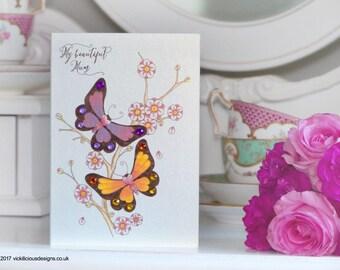 My beautiful Mum butterfly tattoo Tattoo alternative handmade Mother's Day card
