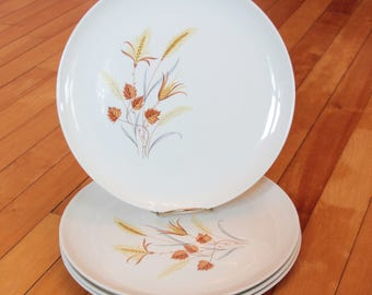 Autumn Harvest Dinner Plates Every Yours Taylor Smith & Taylor Mid Century MCM USA Wheat Autumn Leaves Brown Gold
