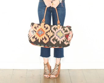 Vintage Turkish Kilim Bag, Ethnic Carpet Purse , Kilim Weekender