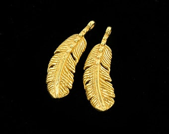 2 of 925 Sterling Silver 24k Gold Vermeil Style Feather Pendants  7x18 mm. :vm0910
