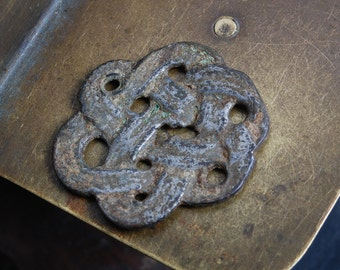 Antique metal plate pendant, connector, finding, dark patina