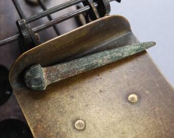 Antique bronze brass nail, embellishment, big nail head, finding.