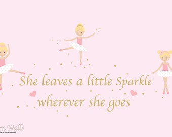 Nursery Wall Decals-Ballerina Girls Sparkle Quote-Girls Nursery Wall Decals-Reusable Decals-Wall Stickers-Sparkle Quote