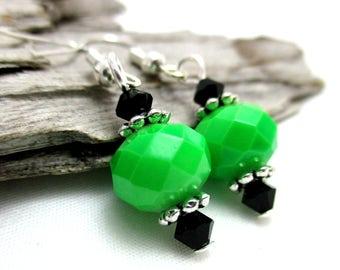 Lime Green Crystal Drop Earrings - Swarovski Crystal Earrings - Earrings for Sensitive Ears