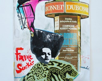 Fame Sucker Theatre, Original Acrylic and Collage Painting On Paper / Figurative / Woman / Theater / French / Wall Decor / NY Artist
