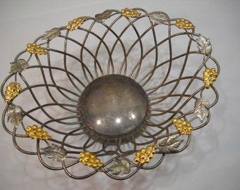 Vintage Silver Bowl Godinger Silver Art Co Grape Vine Leaf Fruit Bowl Basket FREE SHIPPING