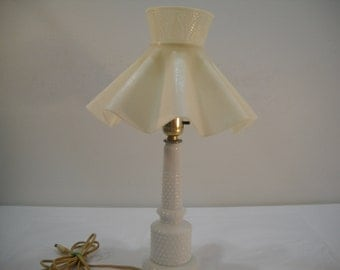 Vintage Hobnail Table Lamp W/Plastic Shade Vintage Milk Glass Bedroom Lamp FREE SHIPPING