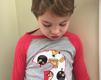 CUSTOM Cool New Angry Birds Number or Initial T shirt for kids